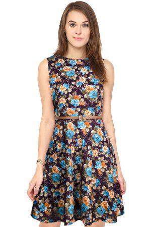 Exclusive Designer Floral Wine Dress