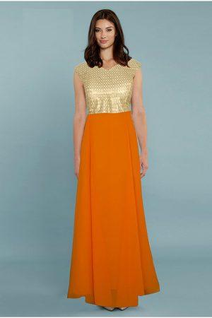 Exclusive Designer Olay Orange Gown