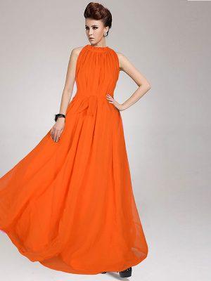 Exclusive Designer Dyna Orange Gown