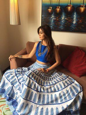Blue Printed Bhagalpuri Exclusive Designer Lehengas
