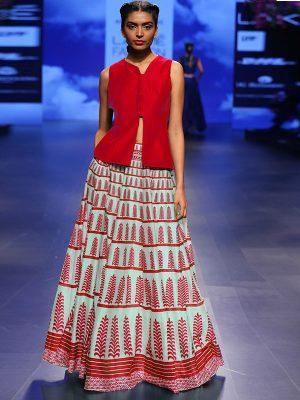 Red Printed Bhagalpuri Exclusive Designer Lehengas