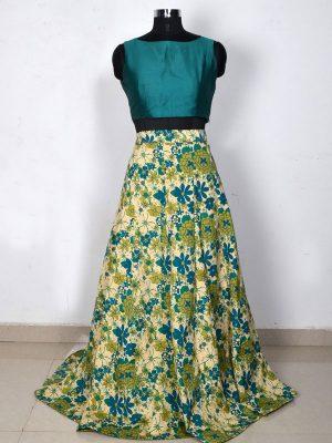 Green Printed Banglory Silk Exclusive Designer Lehengas