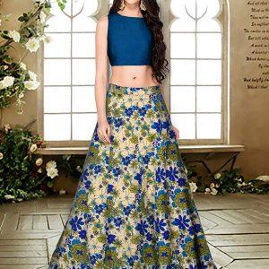 Blue Printed Banglory Silk Exclusive Designer Lehengas