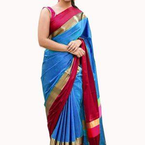 Shreeji Blue Red Weaving Cotton Silk Sarees With Blouse