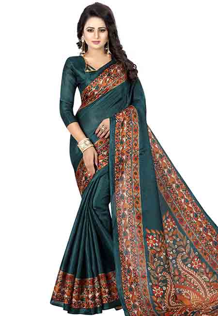 Rama Printed Kalamkaari Khadi Silk Sarees With Blouse