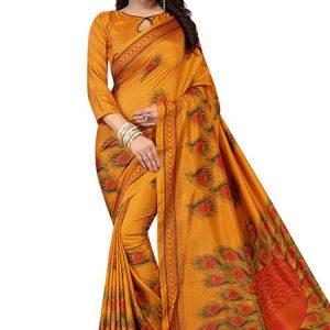 Kanhaiya Mustard Printed Maalgudi Silk Sarees With Blouse