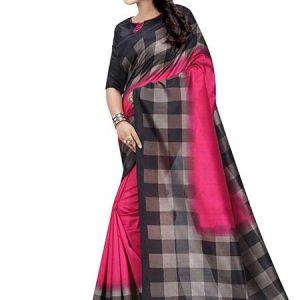 Pink Checks Printed Mysore Art Silk Sarees With Blouse