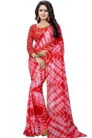 Shibori Style Printed Chiffon Sarees With Blouse