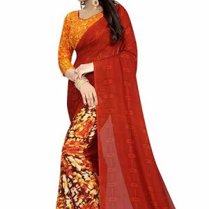 Maroon Mixture Printed Special Georgette Sarees With Blouse