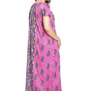 Mango Pink Printed Lycra Nighty Maxi