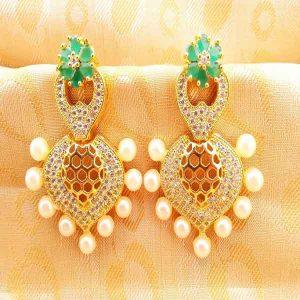 Gorgeous Green CZ Designer Earrings