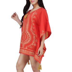 Women's Polyester Gold Print V-neck Gold Tasseled Casual Wear Kaftan (Red)