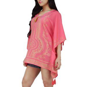 Women's Polyester Gold Print V-neck Gold Tasseled Casual Wear Kaftan (Pink)