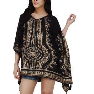 Women's Polyester V-neck Gold Print Black Tasseled Casual Wear Kaftan (Black)