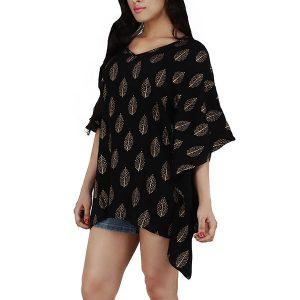 Women's Polyester Gold Leaf Print V-neck Casual Wear Kaftan (Black)