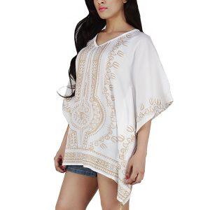 Women's Polyester Gold Print V-neck Casual Wear Kaftan (White)