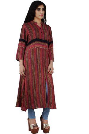 Women's Rayon Stripe Print Straight Kurta (Multicolor)