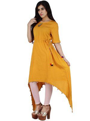Women's Rayon Mid Length Plain Aline Kurta (Yellow)