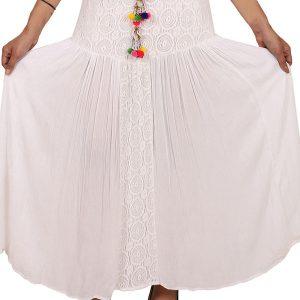 Women's Rayon Crochet Work Tassel Decorated Long Regular Skirt (White)