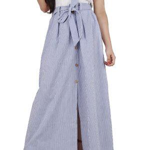 Women's Cotton Stripe Printed Belt Tied Aline Skirt (Blue)