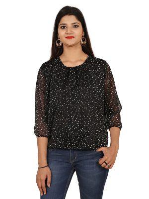 Women's Chiffon Polka Star Print Blouson Top (Black)