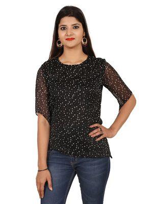 Women's Polka Star Print Half Sleeve Blouson Top (Black)