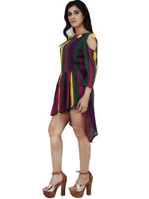 Women's Rayon Striped Print Cold Shoulder High Low Blouson Top (Multicolor)