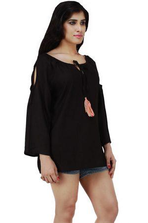 Women's Rayon Solid Cold Shoulder Blouson Top (Black)