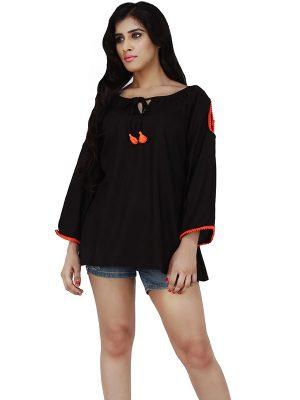 Women's Rayon Solid Cold Shoulder Orange Pom Pom Decorated Blouson Top (Black)
