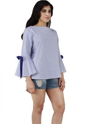 Women's Cotton Flower decorated Striped Print Blouse Top (Blue)