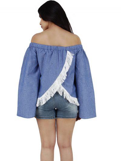 Women's Cotton Off Shoulder Solid Crop Top (Blue)