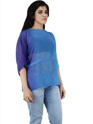 Women's Georgette Tie Dye Cord Fitted Blouse Top (Blue)