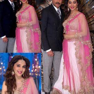 Madhuri Dixit With Anil White Georgette Bollywood Lehenga Choli