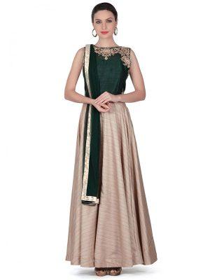 Cream Color Chennai Silk Resham Embroidered Gown