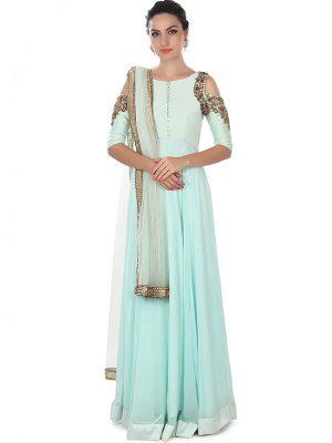 Sky Blue Color Georgette Embroidered & Pearl Work Anarkali Suits