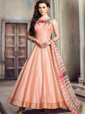 Peach Color Twill Armani Silk Heavy Hand Work Gown