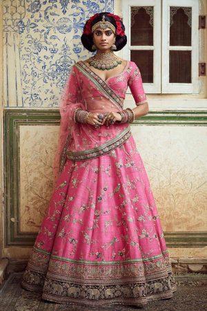 2 Ton Rouge Pink Color Banarasi Silk Heavy Embroidered Work Lehenga Choli With Dupatta