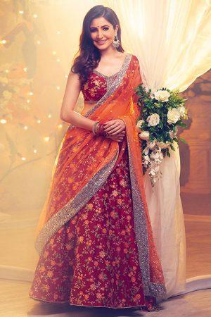 Dark Red Color Bride Malai Silk Heavy Embroidery Lehenga Choli With Dupatta