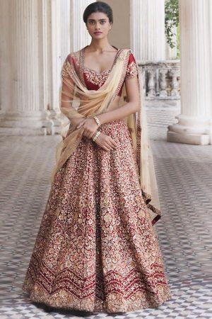 Ruby Wine Color Wedding Wear Heavy Bridal Malbari Silk Embroidery Lehenga Choli With Dupatta