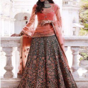 Verdant Green Color Wedding Wear Heavy Bridal Malbari Silk Embroidery Lehenga Choli With Dupatta