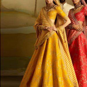 Mango Color Wedding Wear Heavy Bridal Phantom Silk Embroidery Lehenga Choli With Dupatta