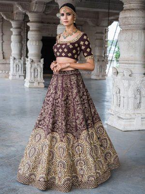 Wine Purple Color Wedding Wear Heavy Bridal Rubi Silk Embroidery Lehenga Choli With Dupatta