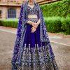 Royal Blue Color Wedding Wear Heavy Bridal Malbari Silk Embroidery Lehenga Choli With Dupatta
