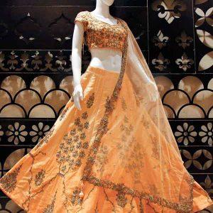 Petal Peach Color Wedding Wear Heavy Bridal Bridal Silk Embroidery Lehenga Choli With Dupatta
