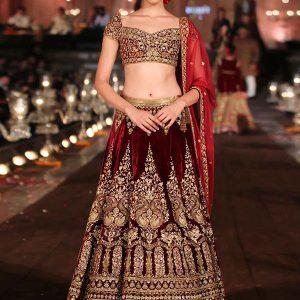 Garnet Maroon Color Wedding Wear Heavy Bridal Velvet Embroidery Lehenga Choli With Dupatta