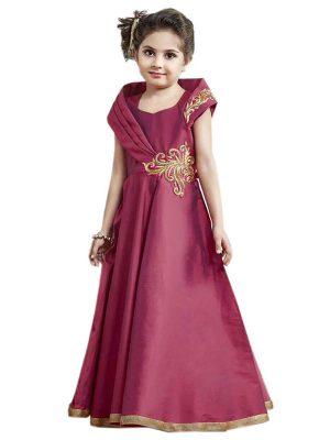 Magenta Color Taffeta Silk Hand Work Gown