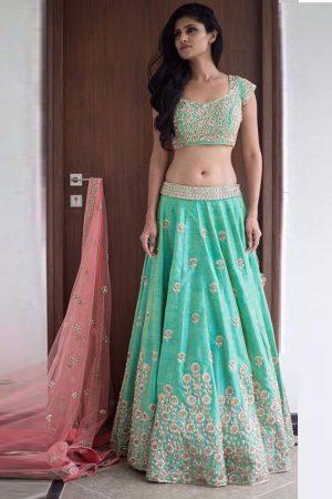 Sea Green Elegance Lehenga Choli With Pink Net Dupatta