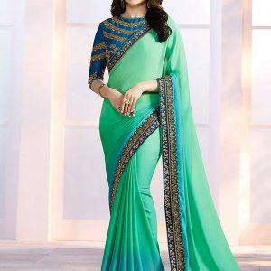 Prachi Desai Sea Green Georgette Saree With Blouse