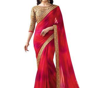 Prachi Desai Red Georgette Saree With Blouse