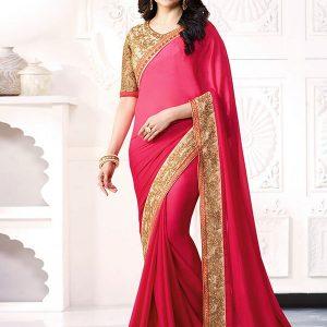 Prachi Desai Pink Georgette Saree With Blouse